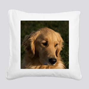 (14) golden retriever head sh Square Canvas Pillow