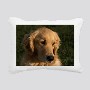 (12) golden retriever he Rectangular Canvas Pillow