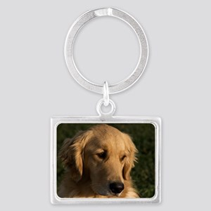 (12) golden retriever head shot Landscape Keychain