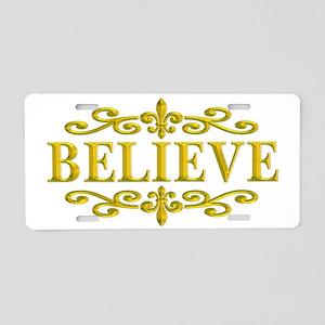 BELIEVE FLEUR2 Aluminum License Plate