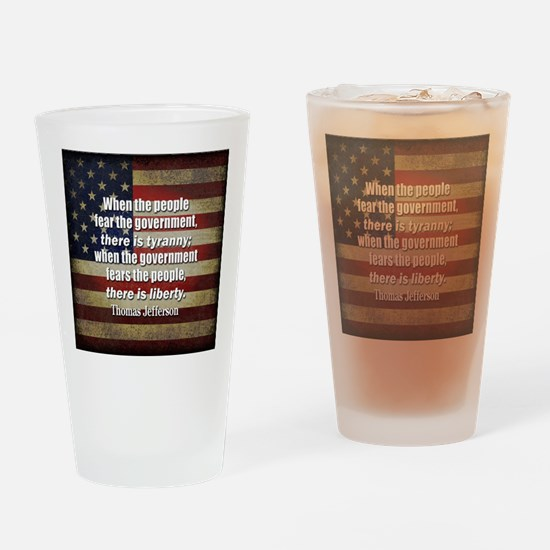 Jefferson Quote Liberty Drinking Glass