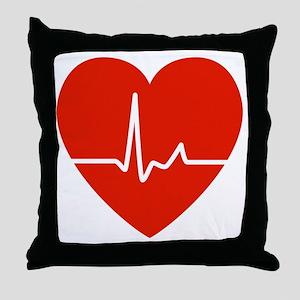 HeartBeatsRed Throw Pillow