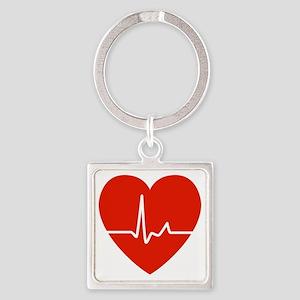 HeartBeatsRed Square Keychain