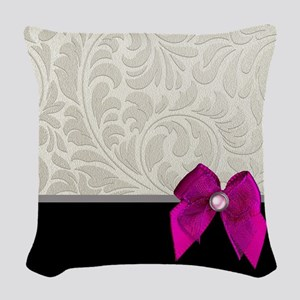Silver Damask Pink Bow Woven Throw Pillow
