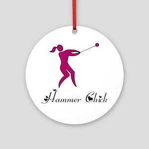 Hammer Chick Round Ornament