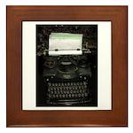 Vintage Typewriter Framed Tile