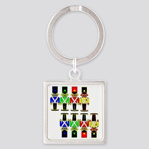8 Nut Crackers Square Keychain