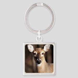 Whitetail Deer Doe Square Keychain