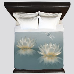 Lotus and Dragonfly King Duvet Cover