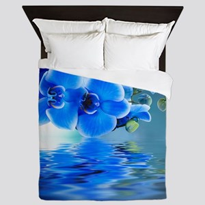 Blue Orchids Queen Duvet Cover
