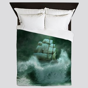 Ship in Storm Queen Duvet Cover