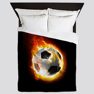 Soccer Fire Ball Queen Duvet Cover
