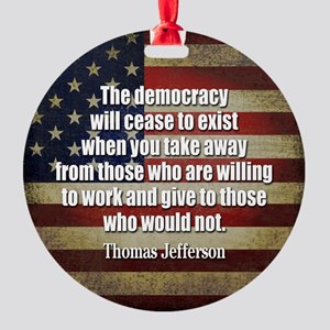 Jefferson Quote Democracy Ornament