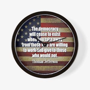 Jefferson Quote Democracy Wall Clock