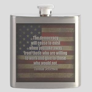 Jefferson Quote Democracy Flask