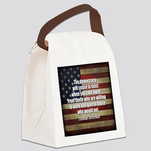 Jefferson Quote Democracy Canvas Lunch Bag