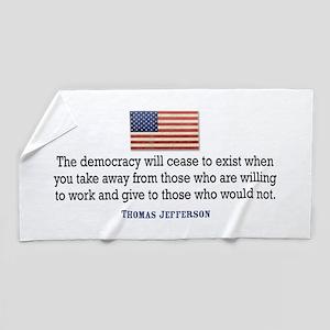 Quote Democracy Beach Towel