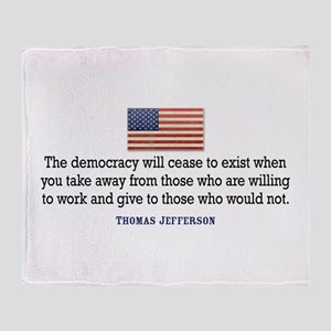 Quote Democracy Throw Blanket