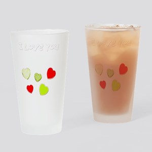 I Love You Hearts Valentines Day De Drinking Glass