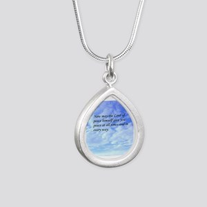 Thessalonians card Silver Teardrop Necklace