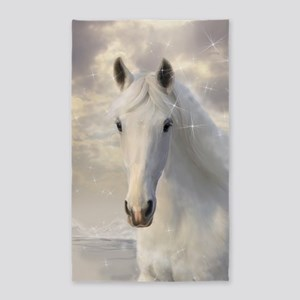 Sparkling White Horse Area Rug