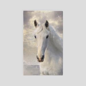 Sparkling White Horse Area Rug