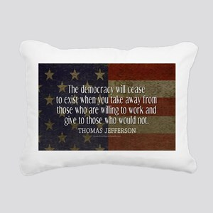 Jefferson Quote Democracy Rectangular Canvas Pillo