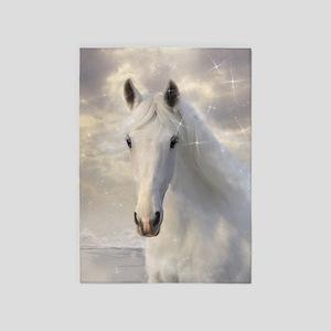 Sparkling White Horse 5'x7'area Rug