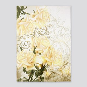 Artistic Yellow Roses 5'x7'area Rug