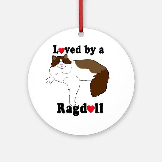 Loved by a Ragdoll dark Round Ornament
