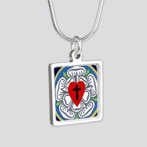 Luther Seal Tile 2 Silver Square Necklace