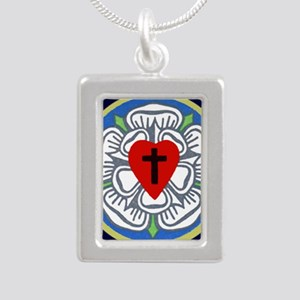 Luther Seal Tile 2 Silver Portrait Necklace