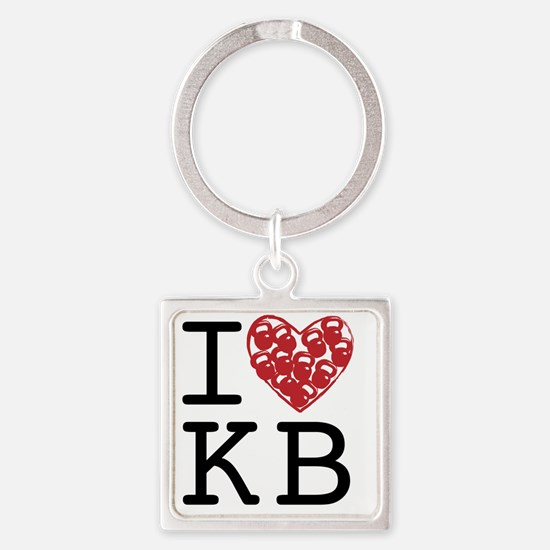 I Heart KB Square Keychain
