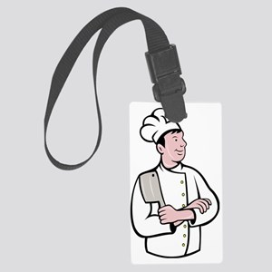 cartoon Chef cook holding meat c Large Luggage Tag