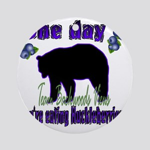 One day eating huckleberries.. Round Ornament