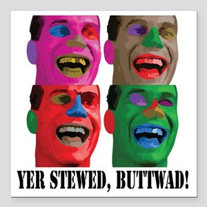 """Stewed-Buttwad Square Car Magnet 3"""" x 3"""""""