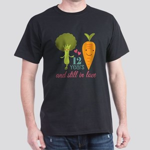 12 Year Anniversary Veggie Couple Dark T-Shirt