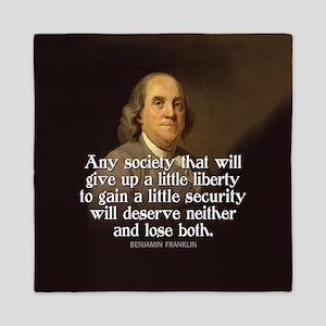 Ben Franklin Quote Queen Duvet