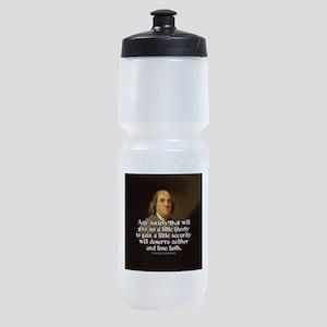 Ben Franklin Quote Sports Bottle
