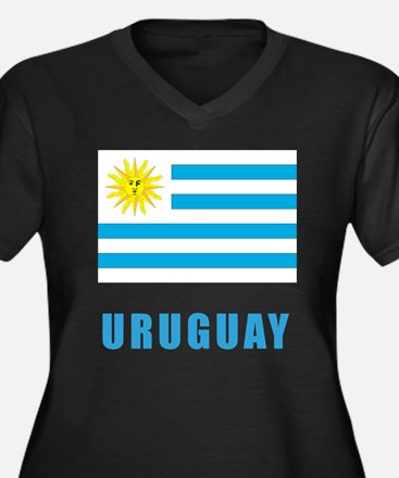 uruguay_flag Women's Plus Size Dark V-Neck T-Shirt