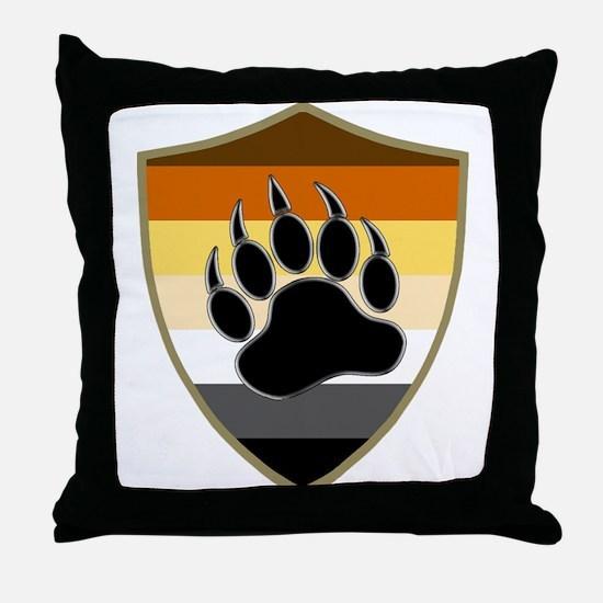 GAY BEAR PRIDE BEAR PAW SHIELD Throw Pillow