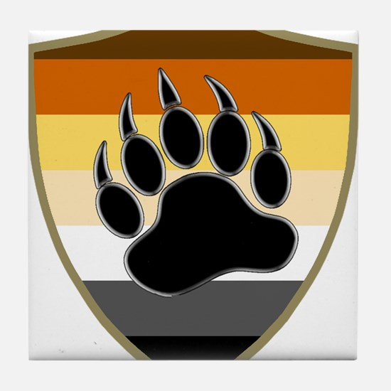 GAY BEAR PRIDE BEAR PAW SHIELD Tile Coaster