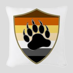 GAY BEAR PRIDE BEAR PAW SHIELD Woven Throw Pillow