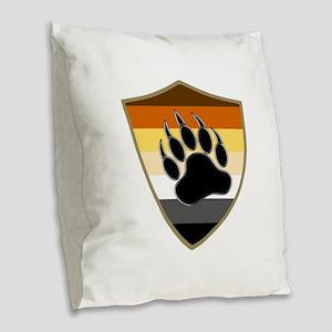 GAY BEAR PRIDE BEAR PAW SHIELD Burlap Throw Pillow