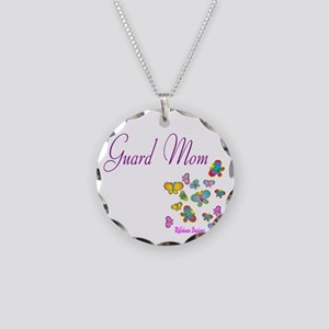 Guard Mom Butterflies Necklace Circle Charm