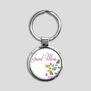 Guard Mom Butterflies Round Keychain