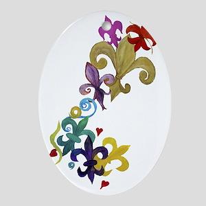 Fleur de lis t-shirts Oval Ornament