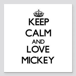 """Keep Calm and Love Mickey Square Car Magnet 3"""" x 3"""