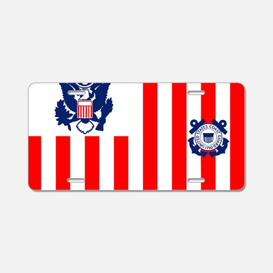 3-USCG-Flag-Ensign-Full-Col Aluminum License Plate