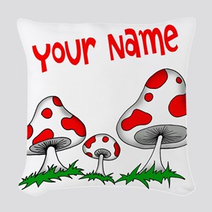 Shrooms Woven Throw Pillow